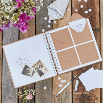'Best Day Ever' Wedding Guest Book with Mini Envelopes and Note cards